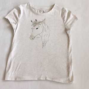 Cute cream tee with a horse